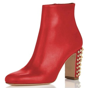 Red Round Toe Studs Chunky Heel Boots Ankle Boots