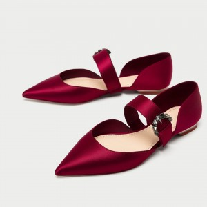 Women's Red Satin Mary Jane Shoes Pointy Toe Flats Ballet Shoes