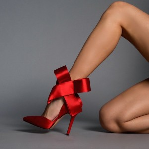 Red Satin Prom Shoes Bow Ankle Strap Stiletto Heel Pumps