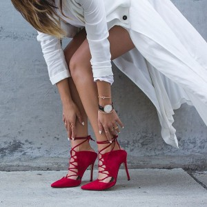Red Strappy Heels Lace up Pointy Toe Suede Pumps Stiletto Heels