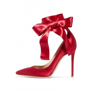 Red Strappy Heels Satin Pointy Toe Stiletto Heel Pumps for Prom