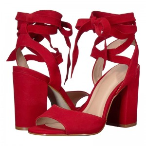 Red Suede Chunky Heel Strappy Sandals