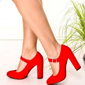Red Suede Mary Jane Pumps Round Toe Chunky Heels Vintage Shoes