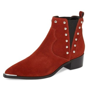 Red Suede Studs Chelsea Boots Chunky Heel Ankle Booties