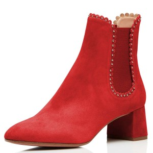 Red Suede Studs Chelsea Boots Chunky Heel Ankle Boots