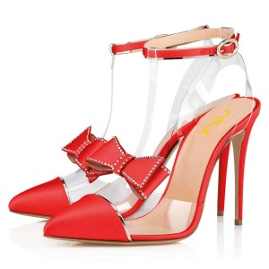 Red T Strap Pumps PVC Bow Stiletto Heel Pumps