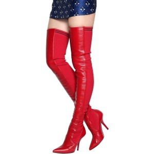 Red Thigh High Heel Boots Pointy Toe Stiletto Heel Boots