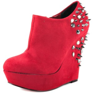 Red Wedge Shoes Fashion Boots Rivets Ankle Boots Suede Platform Almond Toe Boots