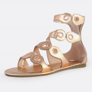 Rose Gold Gladiator Sandals Open Toe Metallic Grommet Band Sandals