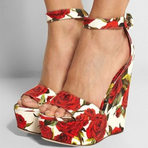 Red Rose Floral Heels Ankle Strap Platform Wedge Sandals