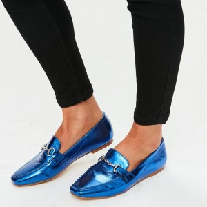 Royal Blue Flats Mirror Leather Square Toe Loafers for Women