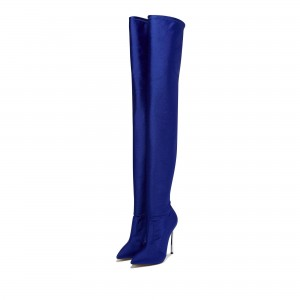 Royal Blue Lycra Thigh High Heel Boots Pointy Toe Stiletto Heel Boots