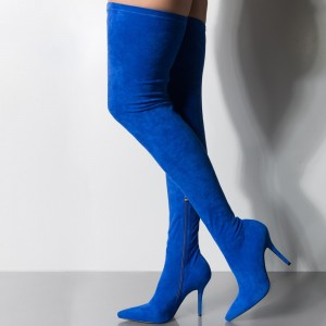 Royal Blue Suede Thigh High Heel Boots for Women