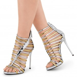 Silver and Gold Strappy Sandals Gladiator Heels Stiletto Heel