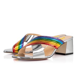 Silver and Rainbow Color Mule Heels Open Toe Block Heel Slides