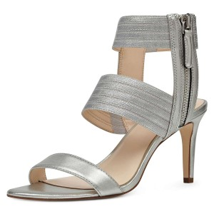 Silver Ankle Strap Stiletto Heel Sandals for Women