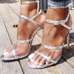 Silver Buckles Slingback Heels Sandals Stiletto Heels Prom Shoes