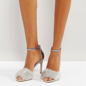 Silver Fur Heels Glitter Open Toe Stiletto Heel Ankle Strap Sandals