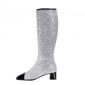 Silver and Black Glitter Boots Block Heel Fashion Knee Boots