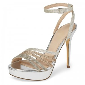 Silver Glitter Platform Ankle Strap Sandals Stiletto Heel Sandals