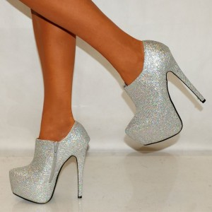 Silver Glitter Shoes Platform Boots Sparkly Ankle Booties