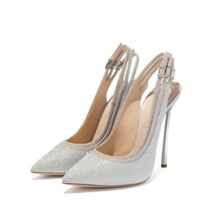 Silver Glitter Shoes Slingback Stiletto Heel Pumps
