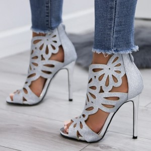 Silver Hollow-out Glitter Peep Toe Stiletto Heels Sandals