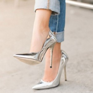 Silver Metallic Heels Pointy Toe Stiletto Heel Pumps for Office Lady