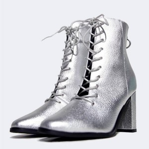 Silver Metallic Lace Up Boots Chunky Heel Ankle Boots