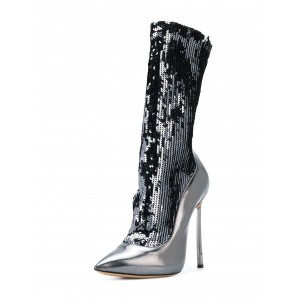 Silver Sequin Boots Metallic Pointy Toe Blade Heel Mid Calf Boots