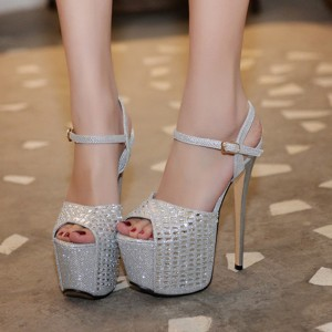 Silver Sexy Shoes Peep Toe Sparkly Platform Sandals