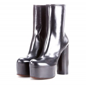 Silver Platform Boots Fashion Block Heel Ankle Boots