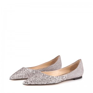 Silver Pointy Toe Sparkly Comfortable Flats