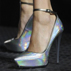 Snakeskin Ankle Strap Platform Holographic Shoes In Silver