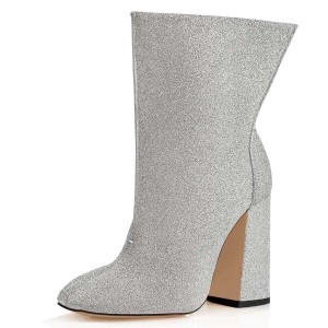 Silver Glitter Boots Chunky Heel Fashion Ankle Boots