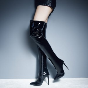 Black Thigh High Heel Boots Patent Leather Stiletto Heel Long Boots