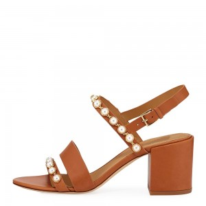 Tan Pearl Block Heels Slingback Sandals