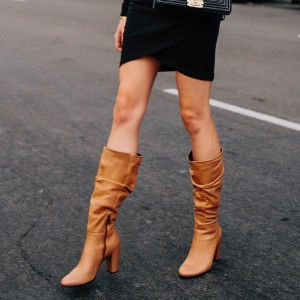 Tan Slouch Boots Chunky Heel Mid Calf Boots