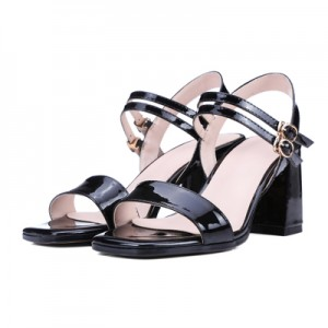 Women's Black Patent Leather Open Toe Chunky Heel Sandals