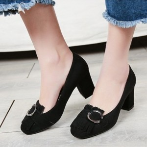 Black Vintage Heels Fringe Suede Shoes Chunky Heel Pumps