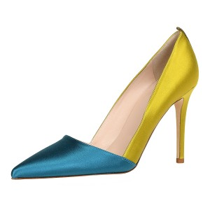 Teal and Yellow Stiletto Heels Office Heels Pumps
