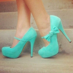 Turquoise Bow Mary Jane Pumps Suede Platform Heels