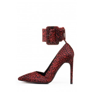 Burgundy Leopard Print Heels Ankle Strap Buckle Stiletto Heel Pumps