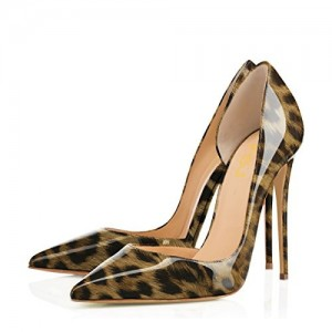 Leopard Print Heels Pointy Toe Sexy Stiletto Heels D'orsay Pumps