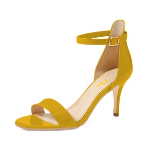 On Sale Yellow Patent Leather Stiletto Heel Ankle Strap Sandals