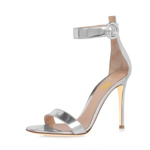 FSJ Silver Metallic Ankle Strap Sandals Open Toe Office Heels