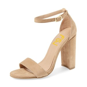 Khaki Suede High Heel Shoes Open Toe Ankle Strap Sandals