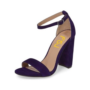 Women's Violet Open Toe Chunky Heel Ankle Strap Sandals
