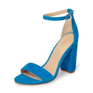 Cobalt Blue Shoes Ankle Strap Chunky Heel Office Sandals by FSJ