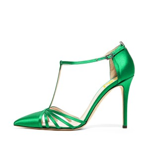 Green T-strap Sandals Satin Pointy Toe Stiletto Heels Shoes